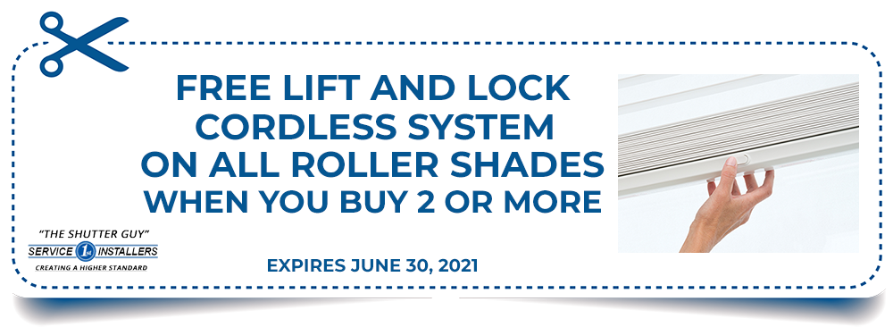 Free Lift and Lock on All Roller Shades Coupon
