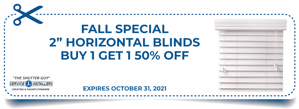 Fall Special - 2 inch Horizontal Blinds Buy 1 Get 1 50% Off