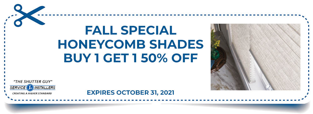 Fall Special - Honeycomb Shades Buy 1 Get 1 50% Off